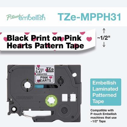 Brother TZEMPPH31 d'origine ruban décoratif à motif pour P-touch, noir sur blanc avec coeur rose