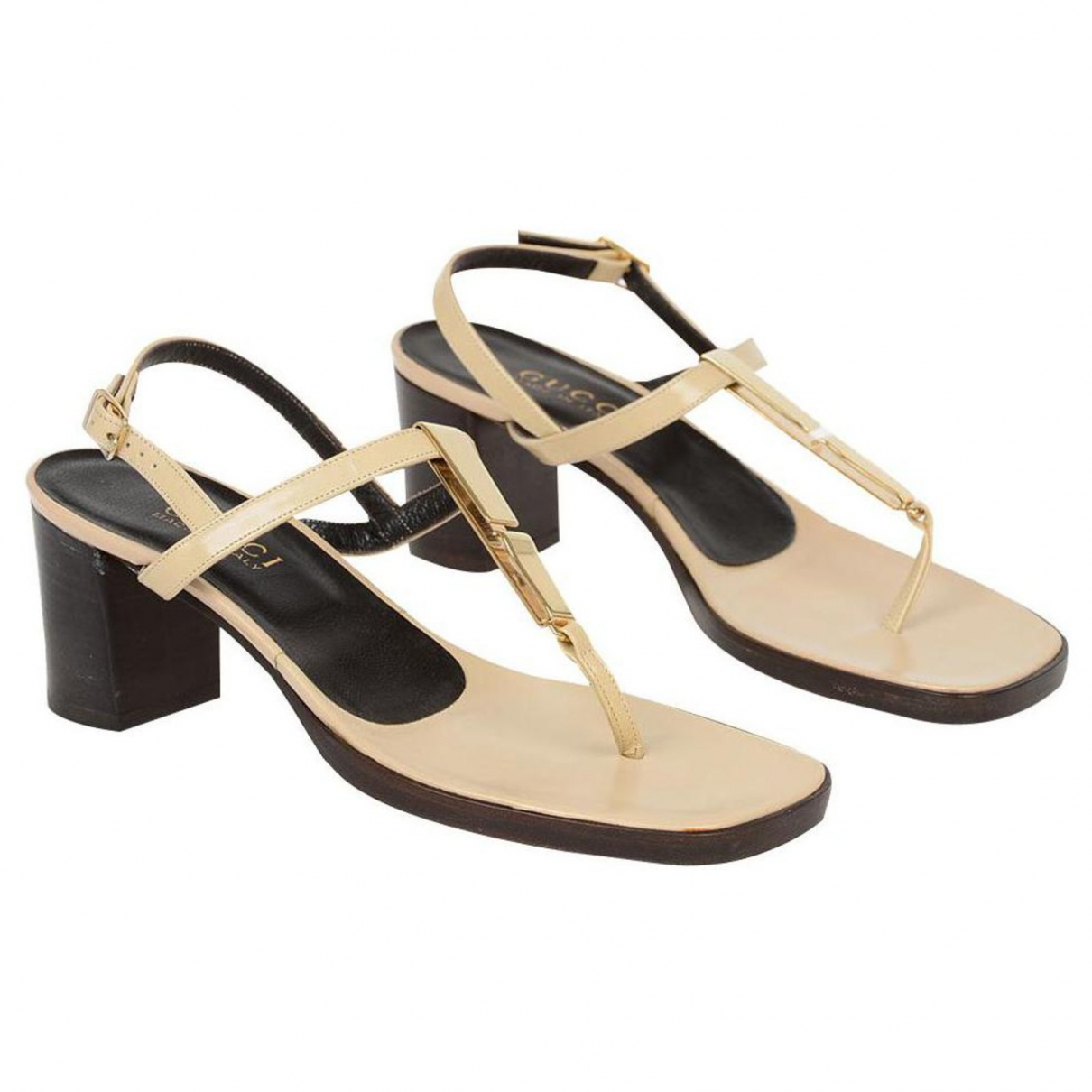 Gucci \N Gold Leather Sandals for Women 38.5 EU