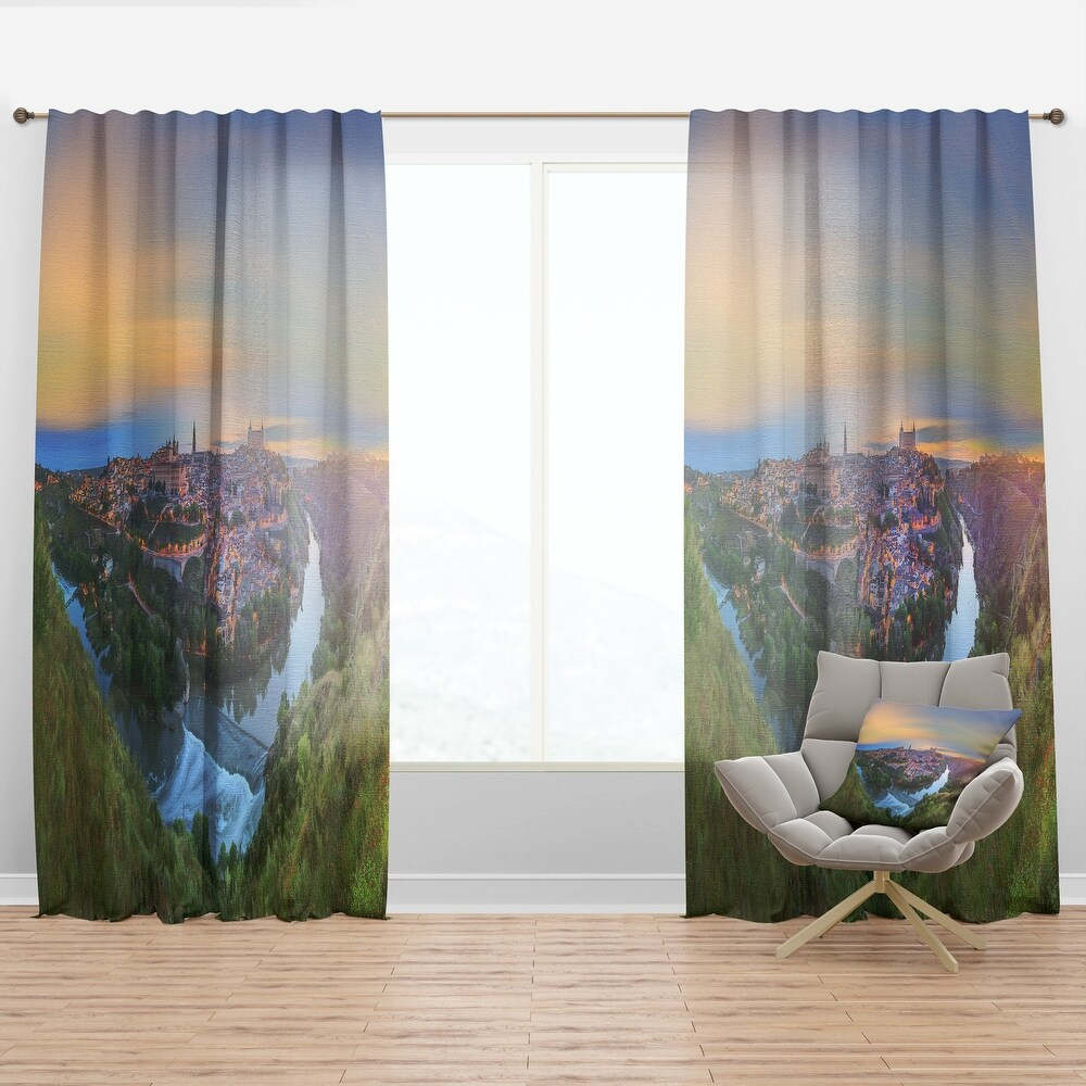 Designart 'Panoramic View of Ancient City Castilla la Mancha' Cityscapes Curtain Panel (50 in. wide x 84 in. high - 1 Panel)