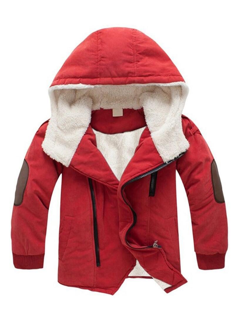 Ericdress Thick Plain Hooded Zipper Boys Outerwear