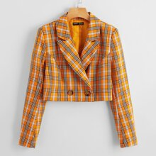 Notched Collar Buttoned Front Plaid Blazer
