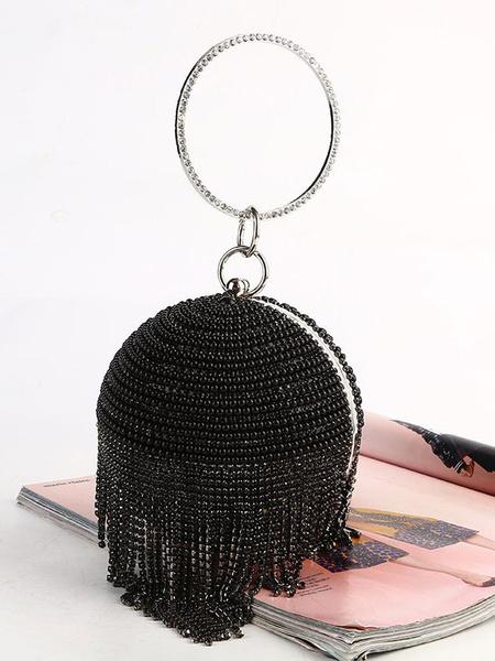 Milanoo Disfraz Halloween Gran accesorio de Gatsby de los años 20 Accesorios de vestido de aleta de cadena de diamantes de imitacion de perla Bolsos d