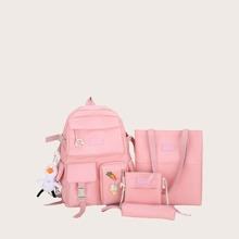 4 piezas set mochila con bolsillo delantero