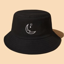 Moon Embroidered Bucket Hat