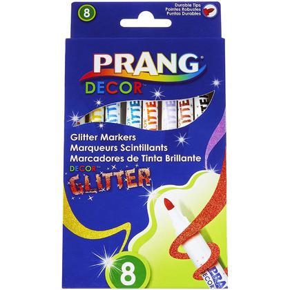 Prang Decor Glitter Art Markers, Fine Tip, 8-Color Set