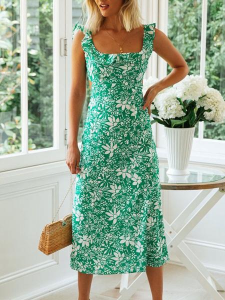 Milanoo Vestido de verano verde Vestido de playa estampado floral con cuello cuadrado