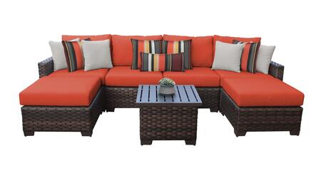 RIVER-07a-TANGERINE Kathy Ireland Homes and Gardens River Brook 7-Piece Wicker Patio Set 07a - 1 Set of Truffle and 1 Set of Persimmon