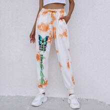 Tie Dye And Letter Graphic Drawstring Waist Sweatpants