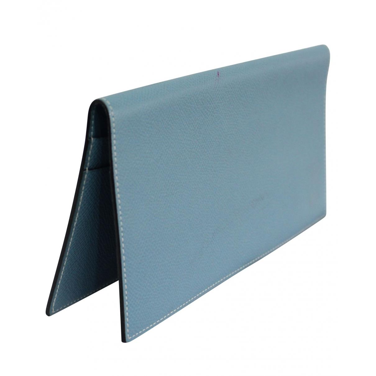 Hermès \N Blue Leather wallet for Women \N