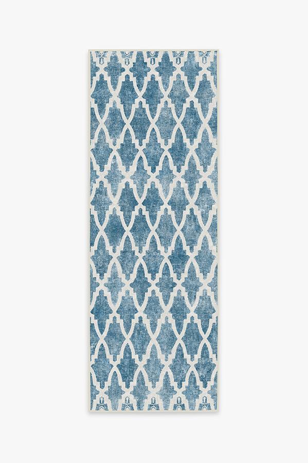 Washable Rug Cover   Soraya Trellis Blue Rug   Stain-Resistant   Ruggable   2.5'x7'