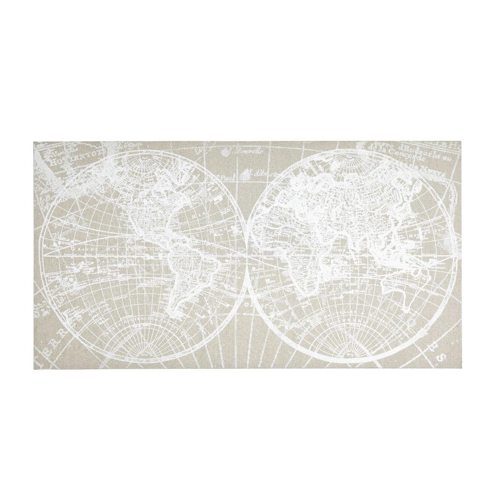 Leinwand, beige mit weissem Weltkartenaufdruck 150x80
