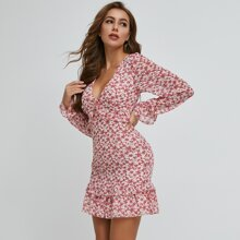 Cut-out Back Ruffle Trim Ditsy Floral Dress