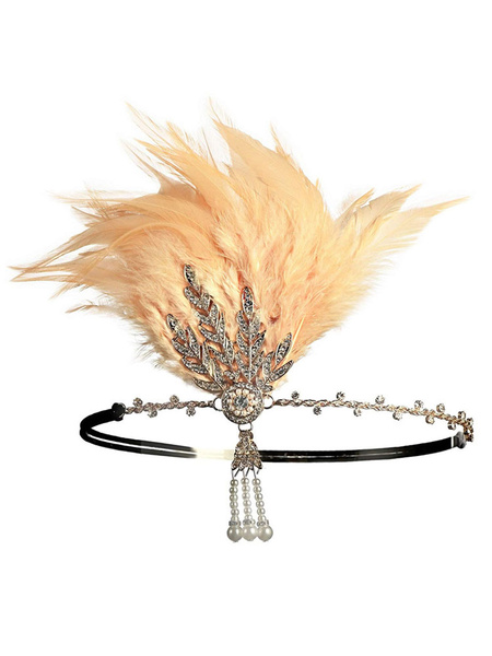 Milanoo 1920s Great Gatsby Accessory Flapper Headband Red Feathers Rhinestone Hairpiece
