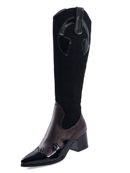 Milanoo Knee High Boots Womens PU Color Block Pointed Toe Puppy Heel Cowboy Boots
