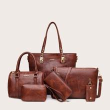 6pcs Double Handle Tote Bag Set