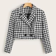 Notched Collar Buttoned Front Houndstooth Blazer