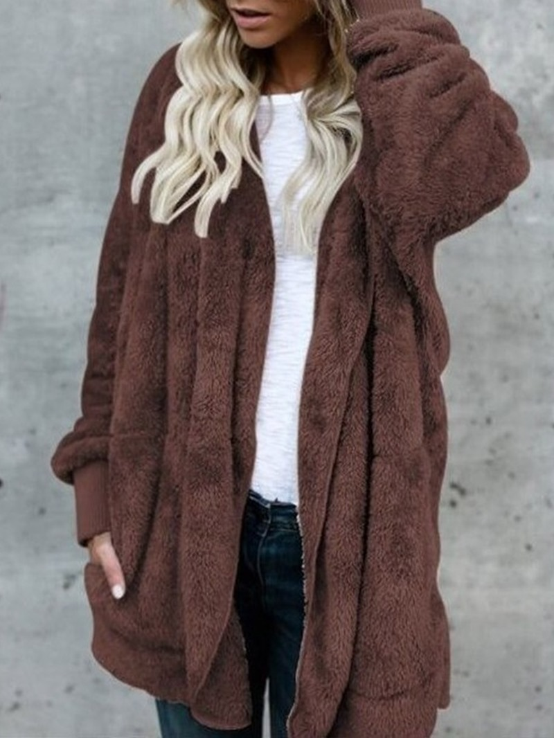 Ericdress Hooded Plain Mid-Length Winter Slim Faux Fur Overcoat