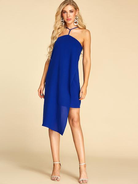YOINS Royal Blue Adjustable Shoulder Straps Halter Sleeveless Dress