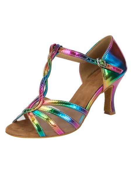 Milanoo Zapatos de bailes latinos de puntera abierta de tacon de stiletto de PU Color gradiente para baile