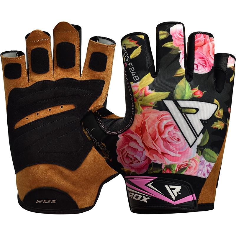 RDX F24 Femmes Gants de Musculation Grande  Noir Lycra