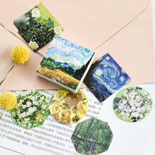 45pcs Oil Painting Pattern Sticker