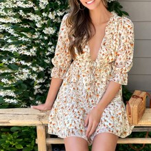 Plunging Neck Tie Front Ruffle Trim Floral Print Dress