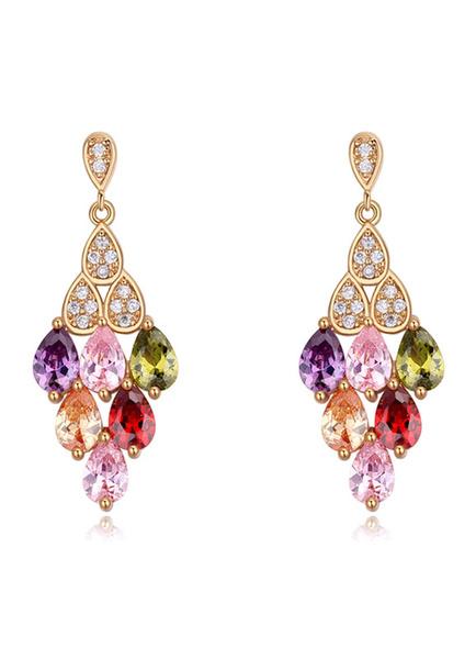 Milanoo Pink Wedding Earrings Copper Rhinestone Pierced Dangle Earrings