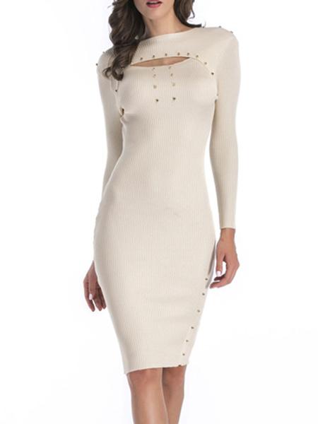 Milanoo Vestido de punto Cuello joya blanco Mangas largas Vestido de fiesta ajustado ajustado elastico