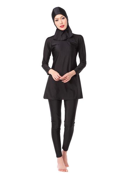 Milanoo Muslim Swimsuit Women Burkini Long Sleeve Solid Color Nylon Beach Bathing Suit