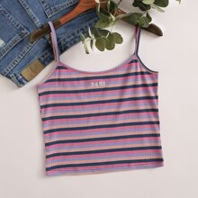 Letter Embroidery Rib-knit Striped Cami Top