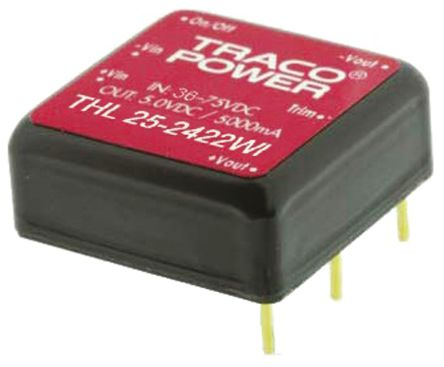 TRACOPOWER THL 25WI 25W Isolated DC-DC Converter Through Hole, Voltage in 18 → 75 V dc, Voltage out ±15V dc
