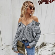 Snakeskin Cold Shoulder Blouse With Chain Straps