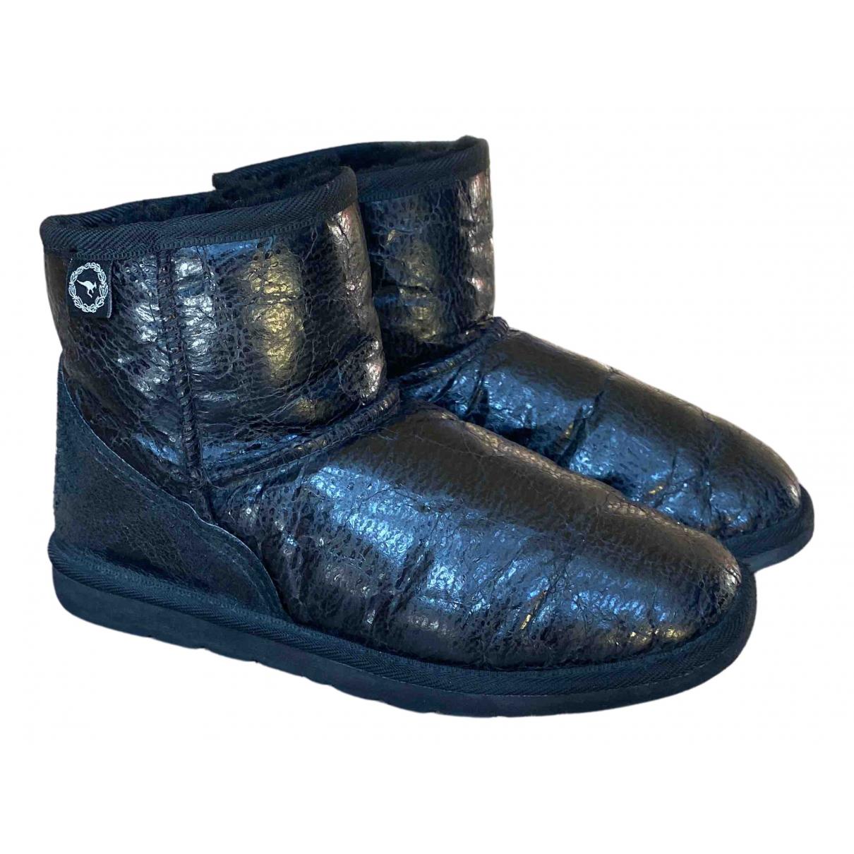Ugg - Bottes   pour femme en cuir - noir