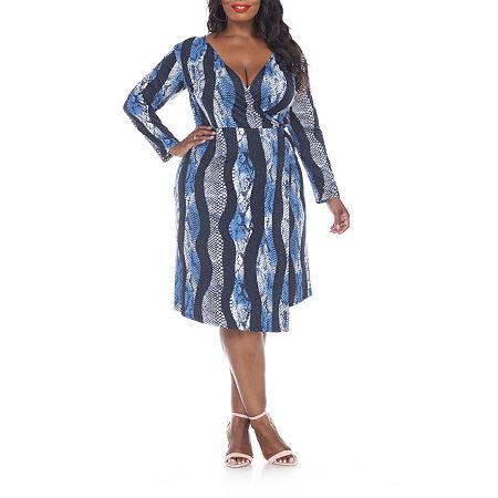 White Mark Roselle Long Sleeve Animal Wrap Dress - Plus, 1x , Blue