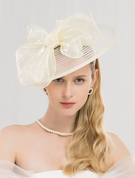 Milanoo Champagne Fascinator Hat Retro Women Royal Vintage Headpieces