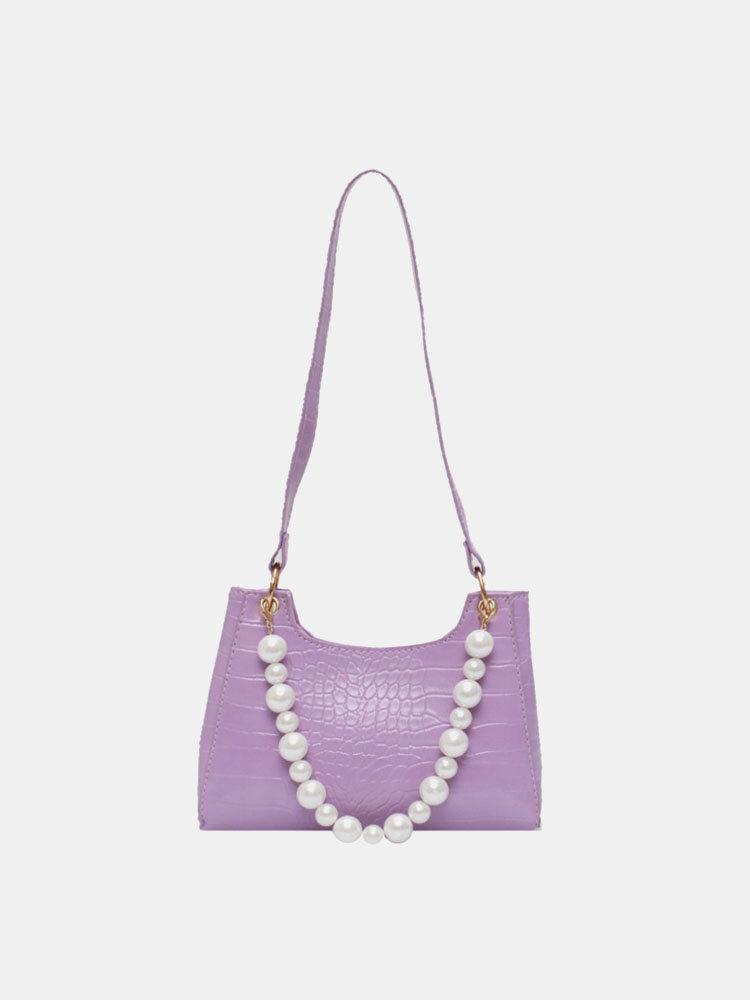 Women Pearl Crocodile Pattern Shoulder Bag