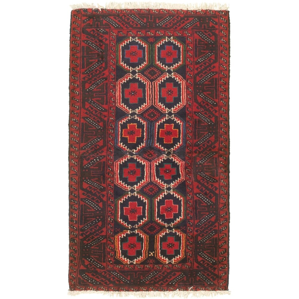 ECARPETGALLERY Hand-knotted Teimani Red Wool Rug - 32 x 510 (Red - 32 x 510)