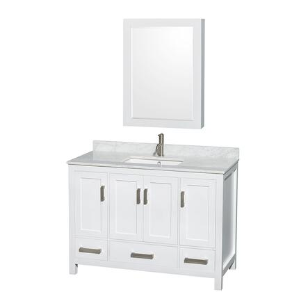 WCS141448SWHCMUNSMED 48 in. Single Bathroom Vanity in White  White Carrera Marble Countertop  Undermount Square Sink  and Medicine