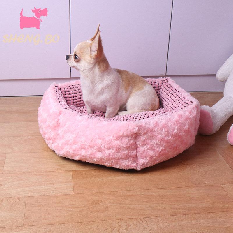 Pink Rose Velvet Pet Sleeping Bed Kennel Dog Cat Winter Bed with Cushion Mat