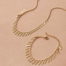 2pcs Disc Charm Halskette & Armband