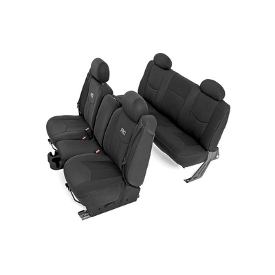 Rough Country Neoprene Front and Rear Seat Covers (Black) - 91019