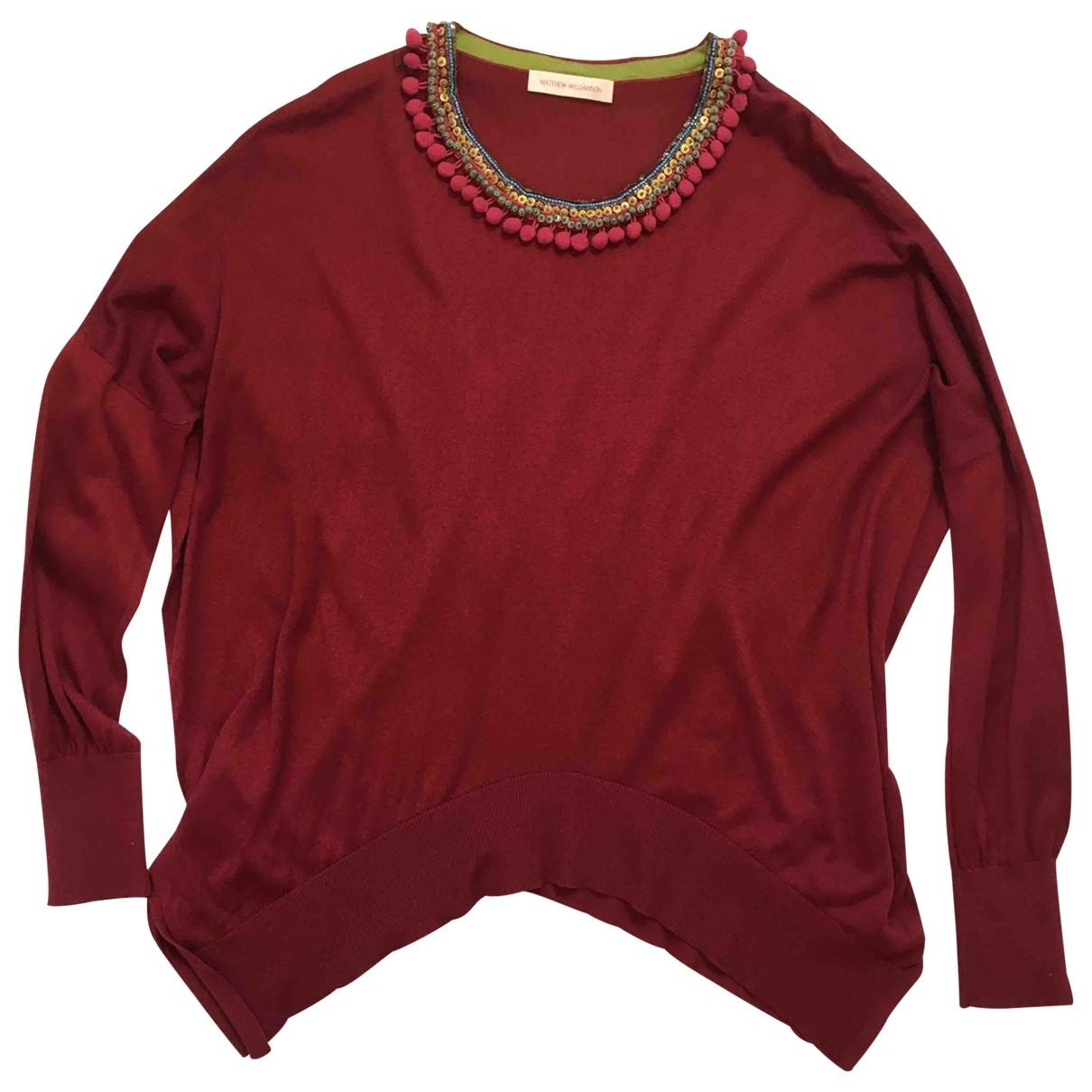 Matthew Williamson - Pull   pour femme en soie - rouge