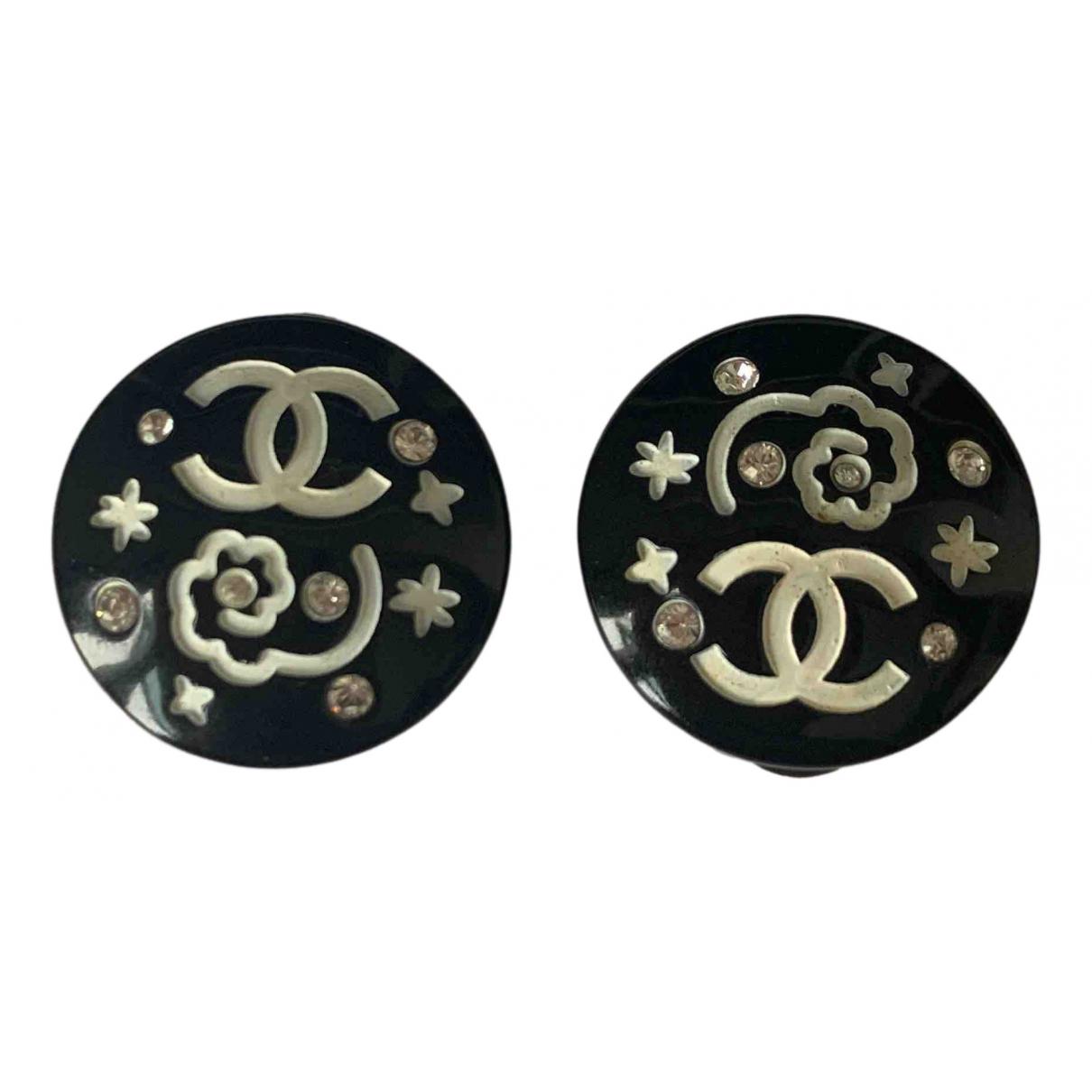 Chanel - Boucles doreilles CC pour femme en cristal - noir