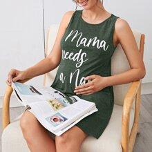 Tank Kleid mit Buchstaben Grafik
