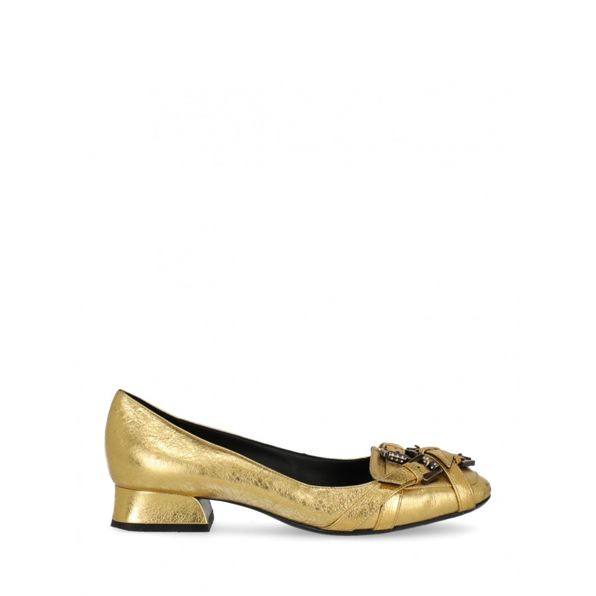 Bottega Veneta \N Gold Leather Ballet flats for Women 38 IT