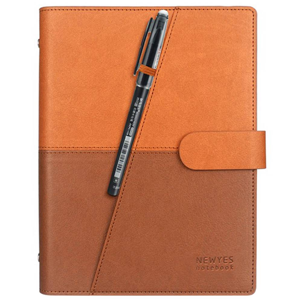 NEWYES A5 Reusable Smart Notebook PU Leather Erasable Wirebound Notebook Sketch Pads APP Storage - Yellow Brown
