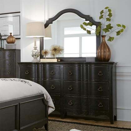 Chesapeake 493-BR31 Dresser with 6 Drawers  French and English Dovetail Construction  Antique Brass Drop Ring Hardware  Scallop Shaped Base Rail in