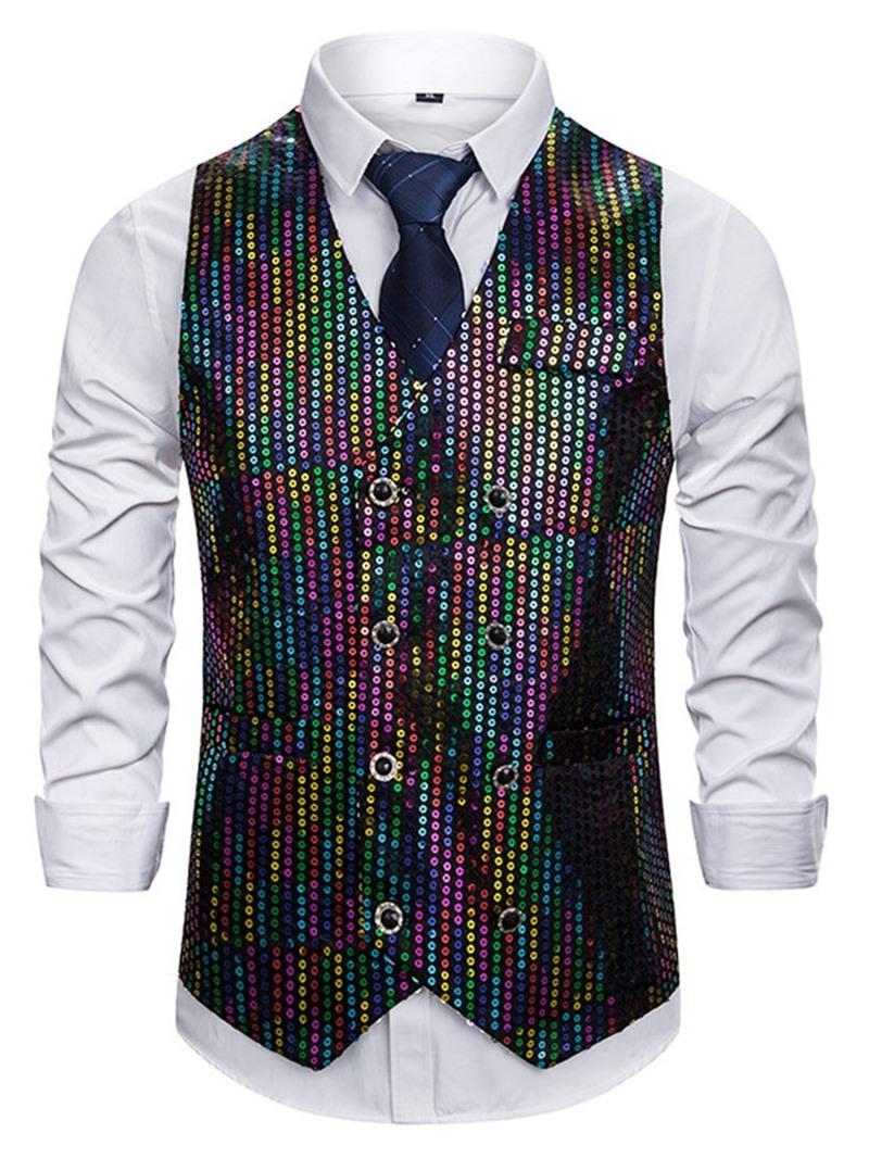 Ericdress Color Block V-Neck Sequins Casual Men's Waistcoat
