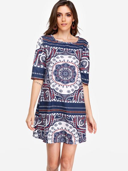 Yoins Print Round Neck Half Sleeves Vacation A Line Dress