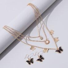 1 Stueck Halskette mit Schmetterling Anhaenger & 1 Paar Ohrringe